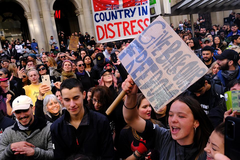 Protesters are seen in Melbourne on Saturday have raised concerns the event could extend the lockdown. Source: AAP