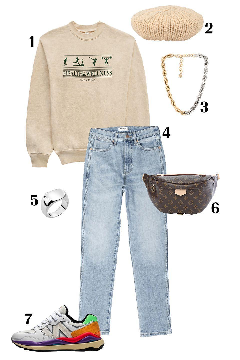 """<p>Don't overthink it—a beret can be worn with any outfit. So, consider wearing a beret with a relaxed look like this varsity-inspired jumper and worn in denim. The key is to accessorize correctly. Add trendy chunky sneakers and jewelry, a <a href=""""https://www.marieclaire.com/fashion/g26427196/best-fanny-packs/"""" rel=""""nofollow noopener"""" target=""""_blank"""" data-ylk=""""slk:belt bag"""" class=""""link rapid-noclick-resp"""">belt bag</a> to wear across your body, and a non-traditional cable knit beret to finish off the off-duty look, and you're out the door. </p><p>Shop the pieces:<em> <strong>1.</strong> </em><em><a href=""""https://www.sportyandrich.com/collections/shop-all/products/health-wellness-crewneck-cream-puff"""" rel=""""nofollow noopener"""" target=""""_blank"""" data-ylk=""""slk:Sporty & Rich Crewneck"""" class=""""link rapid-noclick-resp"""">Sporty & Rich Crewneck</a></em><em>,</em> $140; <strong>2.</strong> <em><a href=""""https://www.farfetch.com/shopping/women/undercover-cable-knit-beret-item-14509555.aspx?storeid=10321"""" rel=""""nofollow noopener"""" target=""""_blank"""" data-ylk=""""slk:Undercover Knit Beret"""" class=""""link rapid-noclick-resp"""">Undercover Knit Beret</a></em>, $205; <strong>3.</strong> <em><a href=""""https://www.revolve.com/petit-moments-leon-set-in-mixed-metal/dp/PETM-WL75/?d=Womens&product=PETM-WL75&bneEl=true&"""" rel=""""nofollow noopener"""" target=""""_blank"""" data-ylk=""""slk:Leon Set Necklace"""" class=""""link rapid-noclick-resp"""">Leon Set Necklace</a></em>, $80; <strong>4.</strong> <em><a href=""""https://www.nordstrom.com/s/wrangler-wild-west-high-waist-straight-leg-ankle-jeans/5734626?origin=category-personalizedsort&breadcrumb=Home%2FWomen%2FClothing%2FJeans%20%26%20Denim&color=sunny"""" rel=""""nofollow noopener"""" target=""""_blank"""" data-ylk=""""slk:Wrangler Denim Jeans"""" class=""""link rapid-noclick-resp"""">Wrangler Denim Jeans</a></em>, $98; <strong>5.</strong> <em><a href=""""https://jenniferfisherjewelry.com/collections/rings-b/products/horizontal-scoop-ring"""" rel=""""nofollow noopener"""" target=""""_blank"""" data-ylk=""""slk:Jennifer Fisher Ring"""