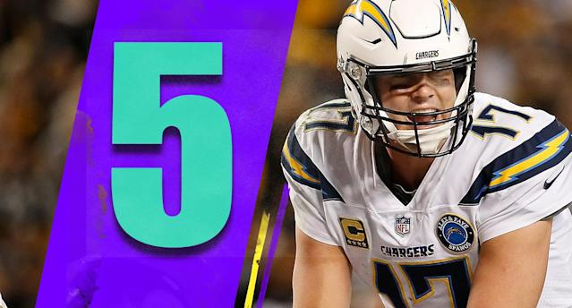 <p>How did Chargers cornerback Desmond King fall to the fifth round of the draft a year ago? He won the Jim Thorpe Award at Iowa and was a great playmaker there. He didn't run well before the draft but he's obviously fast enough to be a nice piece for a good Chargers defense. (Philip Rivers) </p>