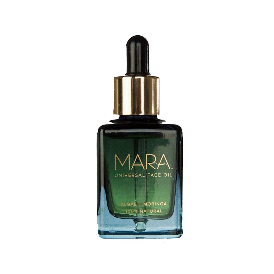 """<p><strong>MARA</strong></p><p>credobeauty.com</p><p><strong>$72.00</strong></p><p><a rel=""""nofollow noopener"""" href=""""https://credobeauty.com/products/algae-moringa-universal-face-oil"""" target=""""_blank"""" data-ylk=""""slk:Shop Now"""" class=""""link rapid-noclick-resp"""">Shop Now</a></p><p>This face oil is packed with all the goods: algae, plankton extract, plant oils, fatty acids, vitamins A and E, and so many antioxidants. But what does it all mean for your skin? A lit-from-within glow. Basically, all these ingredients plump up your skin, improve the appearance of its tone, texture, and firmness, so your face will actually look and feel healthier with consistent use. </p>"""