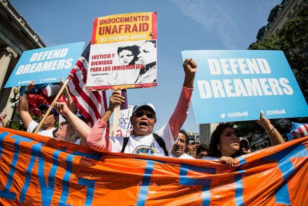 PHOTO: Demonstrators march during a demonstration in response to the Trump Administration's announcement that it would end the Deferred Action for Childhood Arrivals (DACA) program on September 5, 2017 in Washington, DC. (Zach Gibson/Getty Images)