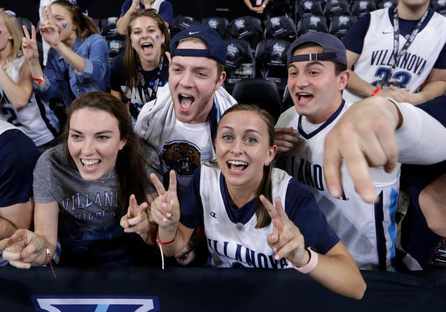 Villanova fans cheer before the championship game between Michigan and Villanova in the Final Four NCAA college basketball tournament, Monday, April 2, 2018, in San Antonio. (AP Photo/David J. Phillip)