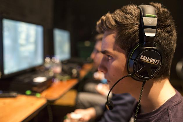 Competitors practice ahead of qualifying matches at the 2015 Call of Duty European Championships. (Getty)