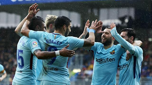 Goals from Luis Suarez and Jordi Alba at Eibar saw Barcelona equal a club-record unbeaten run and placed them one shy of LaLiga's record.