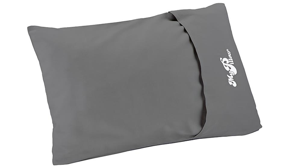 MyPillow Frosted Grey Roll & Go Anywhere Travel Pillow. (Photo: Walmart)
