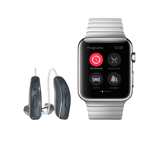 This Bluetooth hearing aid from ReSound pairs with a variety of mobile devices, including the Apple Watch.