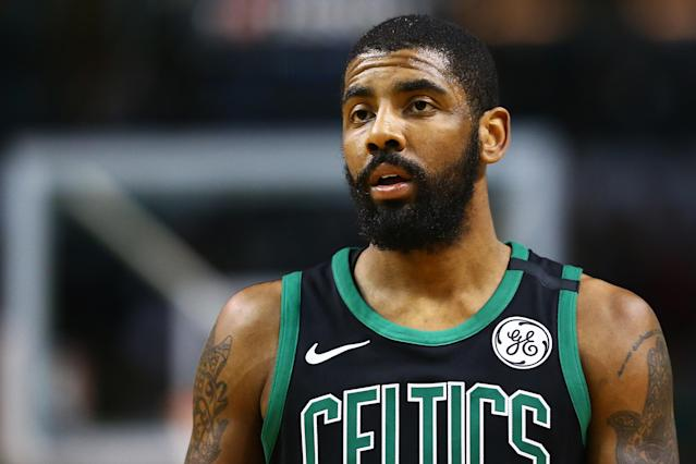 Kyrie Irving won't play for the Celtics again this season. (Photo by Adam Glanzman/Getty Images)