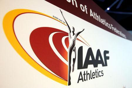 FILE PHOTO: The logo of the International Association of Athletics Federations (IAAF) is seen in Monaco, March 11, 2016. REUTERS/Eric Gaillard Picture Supplied by Action Images/File Photo