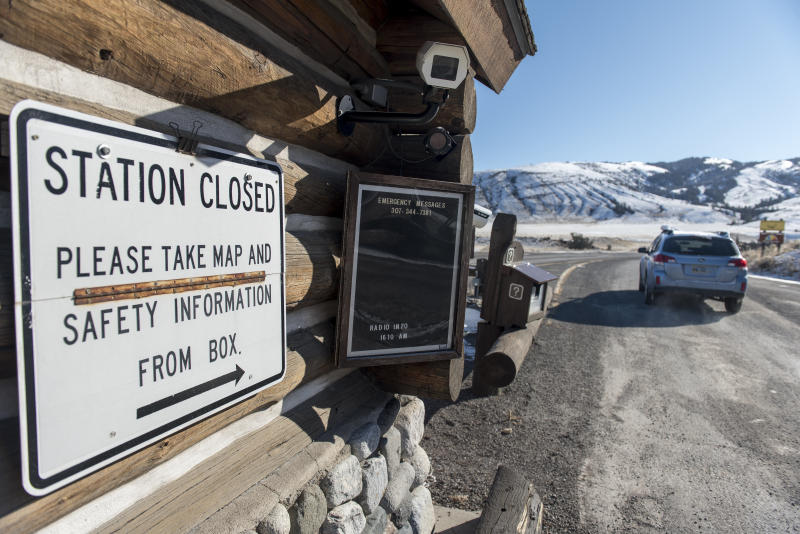 The entrance station to the north entrance to Yellowstone National Park was closed on Jan. 21 but visitors were allowed to enter the park with the understanding that there are no government services due to the government shutdown.