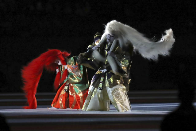Kabuki performers take part in the opening ceremony of the Rugby World Cup, ahead of Pool A game between Russia and Japan in Tokyo, Japan, Friday, Sept. 20, 2019. (AP Photo/Eugene Hoshiko)