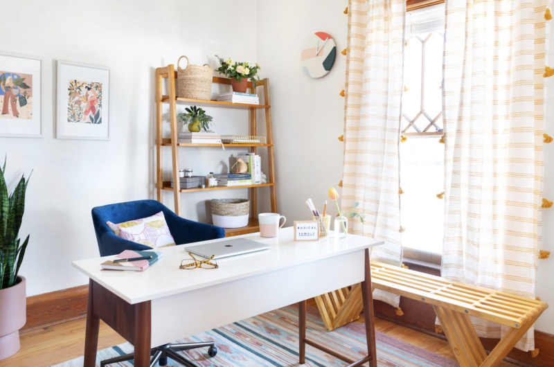 Yes, it's possible to create a calm, productive work space at home. (Photo: Havenly)