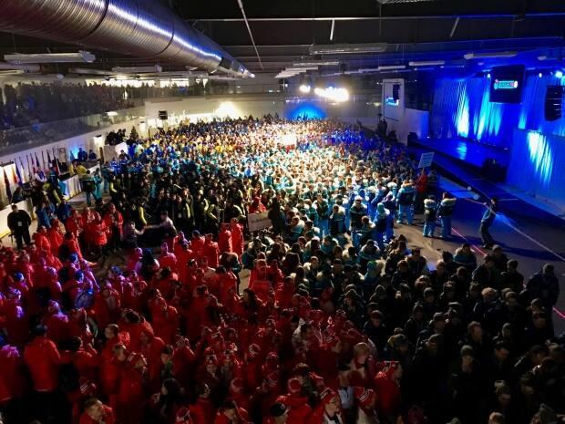 A file photo from the 2018 Arctic Winter Games opening ceremonies in Hay River, N.W.T. (Kirsten Murphy/CBC - image credit)