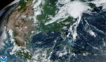 A satellite image shows Tropical Storm Isaias as it progresses over the northeast United States
