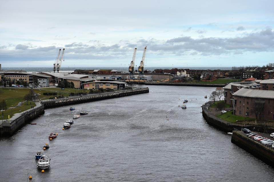 The mouth of the river Wear is seen from the Wearmouth road bridge in Sunderland in north east England on March 16, 2019. - The former shipbuilding city in northeast England, where the Nissan carmaker plant is now the lifeblood, played a starring role in Britain's seismic decision to leave the European Union. The city's 61 percent vote in favour of leaving in the 2016 referendum signalled early on where the nation was heading on the night of June 23, 2016 and celebrations at the count were beamed worldwide. (Photo by ANDY BUCHANAN / AFP)        (Photo credit should read ANDY BUCHANAN/AFP/Getty Images)