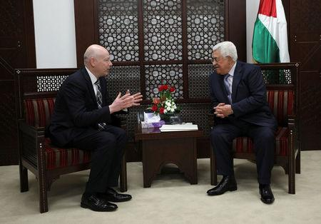 Palestinian President Mahmoud Abbas meets with Jason Greenblatt, U.S. President Donald Trump's Middle East envoy, in the West Bank city of Ramallah