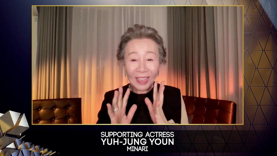 """Every award is meaningful but this one, especially recognized by British people [who are] known as very snobbish people, and they approved me as a good actor,"" Youn Yuh-Jung said in her BAFTA acceptance speech following her role in ""Minari."""