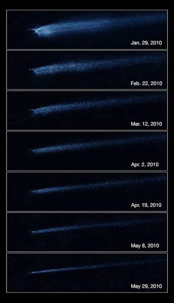 The Hubble Space Telscope captures aftermath of asteroid collision in this series of photos taken between January and May 2010. The images show the object P/2010 A2, an X-shaped objected created by two colliding asteroids.