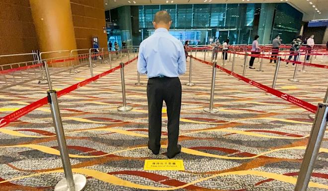 A queueing area set up at the convention centre in Wan Chai, one of the testing venues. Photo: Danny Lee