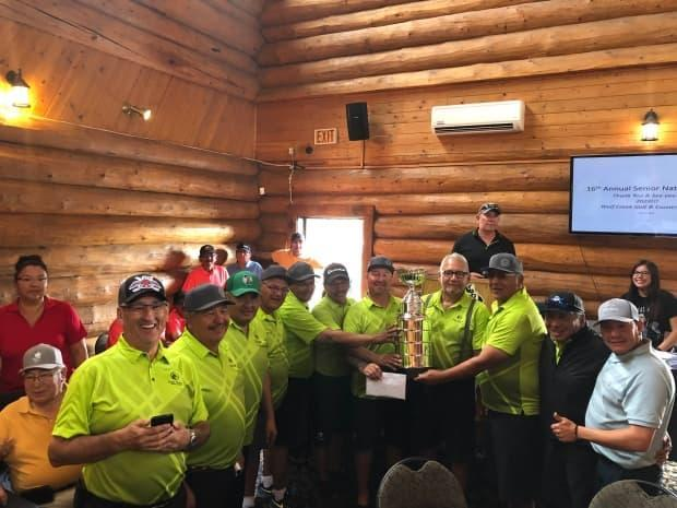 The last tournament was held in 2019 at Wolf Creek Golf Resort. Photographed is champion team Fort McKay First Nation. (Submitted by Joline Wood - image credit)