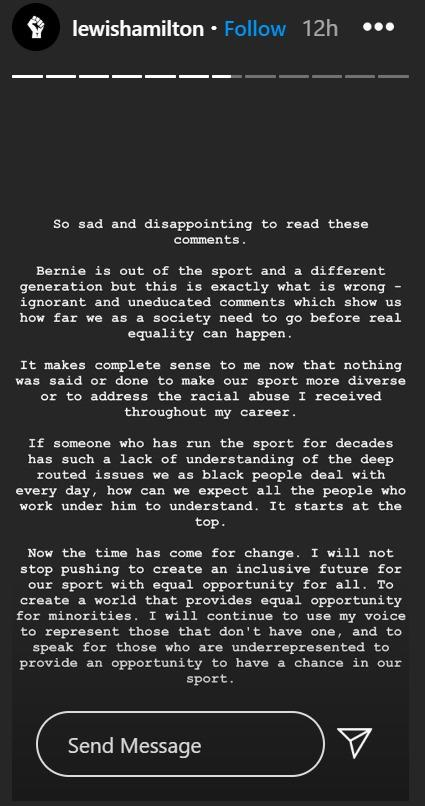 Lewis Hamilton made his feelings clear on Instagram