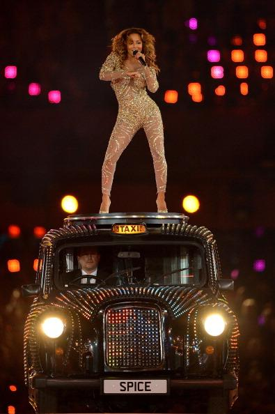 LONDON, ENGLAND - AUGUST 12:  Melanie Brown of the Spice Girls performs during the Closing Ceremony on Day 16 of the London 2012 Olympic Games at Olympic Stadium on August 12, 2012 in London, England.  (Photo by Jeff J Mitchell/Getty Images)