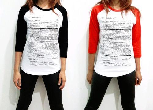 f8cbda8b3 Etsy shirts with Kurt Cobains suicide note screen printed on