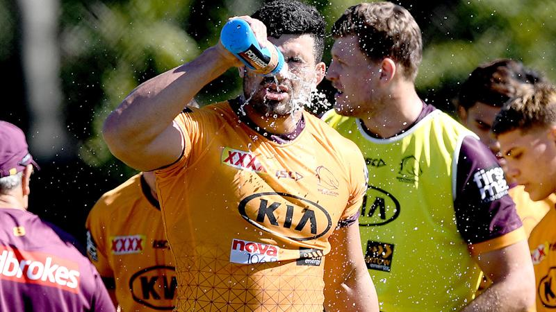 Brisbane Broncos players, pictured here on the training paddock.
