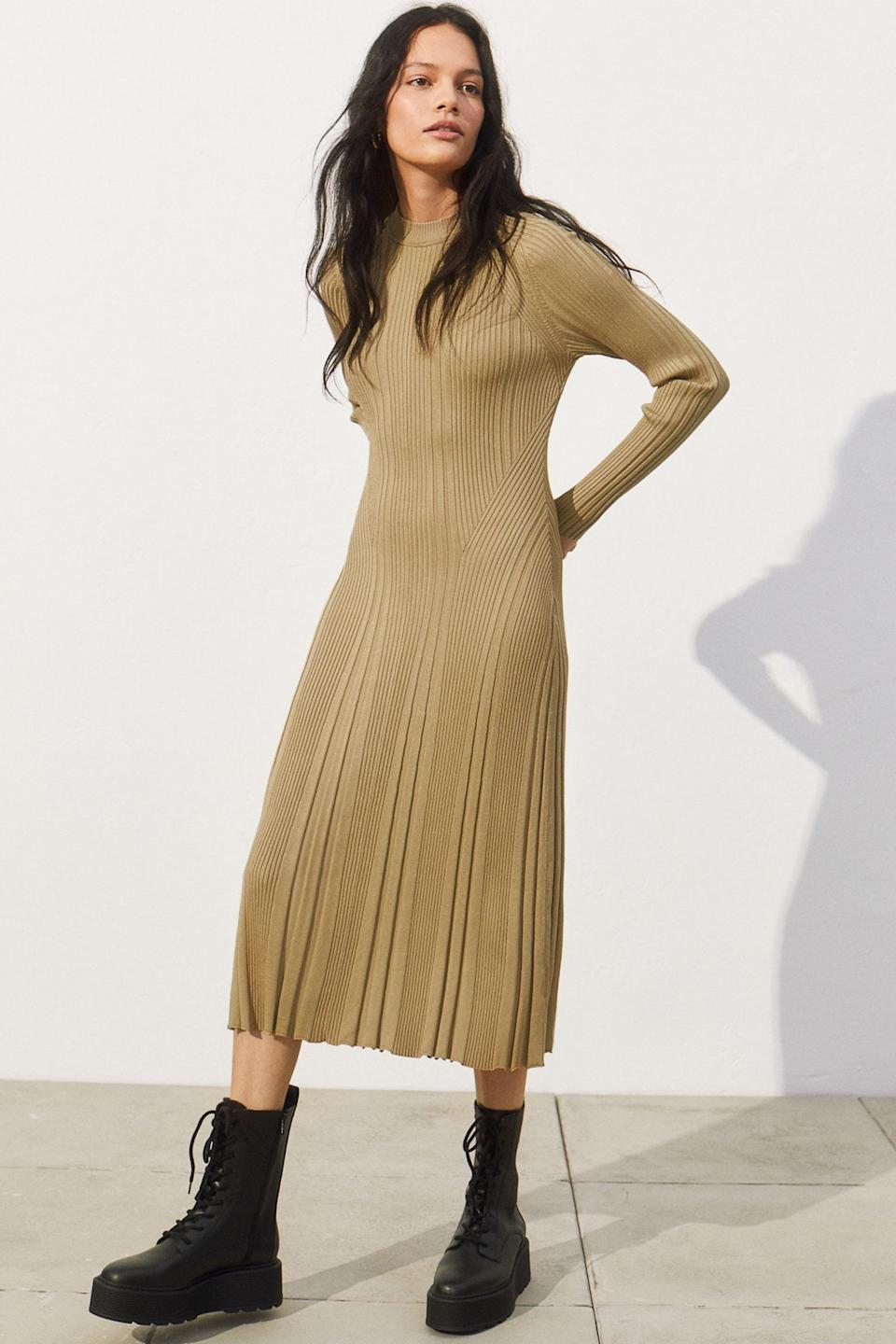 <p>This stunning <span>Ribbed Dress</span> ($56, originally $70) is a polished, subtly sexy choice for your upcoming hangs.</p>