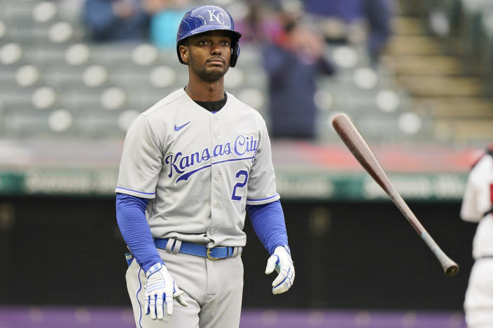 Kansas City Royals' Michael A. Taylor tosses his bat after striking out in the first inning of a baseball game against the Cleveland Indians, Monday, April 5, 2021, in Cleveland. (AP Photo/Tony Dejak)