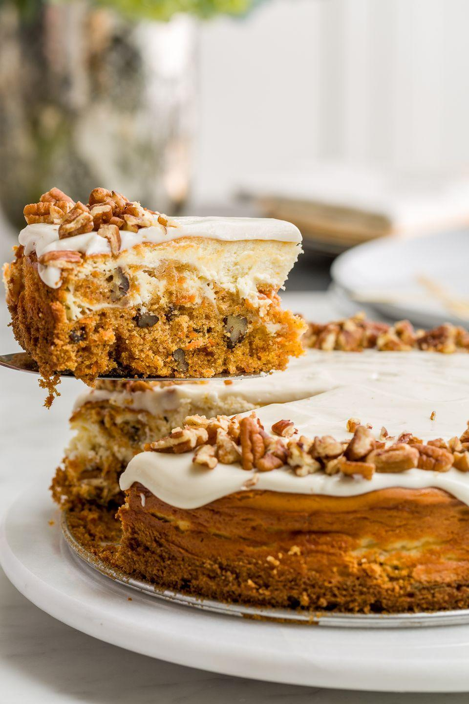 """<p>Because the cream cheese frosting wasn't enough.</p><p>Get the recipe from <a href=""""/cooking/recipe-ideas/recipes/a46468/carrot-cake-cheesecake-recipe/"""" data-ylk=""""slk:Delish"""" class=""""link rapid-noclick-resp"""">Delish</a>. </p>"""