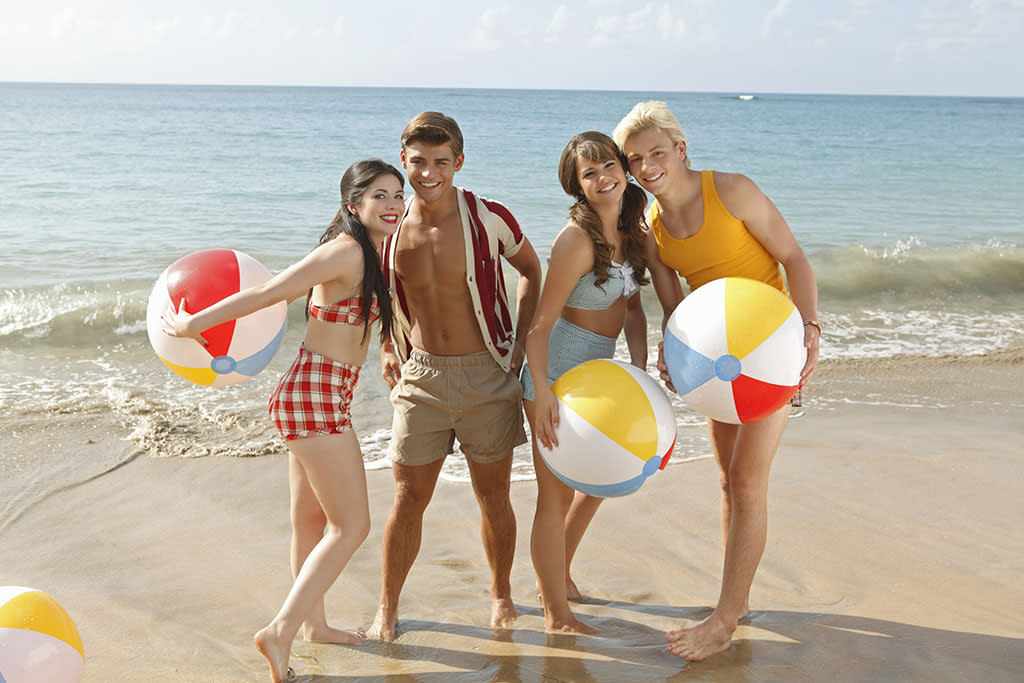 "Disney Channel's ""Teen Beach Movie"" stars Grace Phipps as Lela, Garrett Clayton as Tanner, Maia Mitchell as McKenzie and Ross Lynch as Brady."