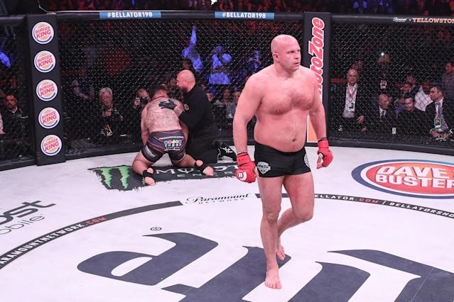 Fedor Emelianenko celebrates his win over Frank Mir at Bellator 198, Saturday, April 28, 2018, in Rosemont, Illinois. (Photo courtesy of Bellator)