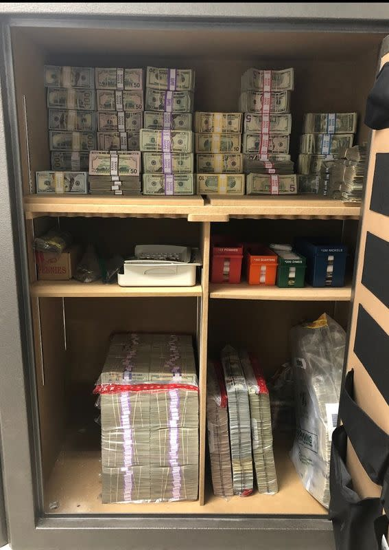 Money from cannabis sales is stored in a safe at a California dispensary before it is picked up and deposited at a bank or credit union