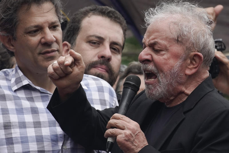 """Former Brazilian President Luiz Inacio Lula da Silva speaks to supporters during a rally at the Metal Workers Union headquarters, in Sao Bernardo do Campo, Brazil, Saturday, Nov. 9, 2019. Da Silva addressed thousands of jubilant supporters a day after being released from prison. """"During 580 days, I prepared myself spiritually, prepared myself to not have hatred, to not have thirst for revenge,"""" the former president said. (AP Photo/Leo Correa)"""