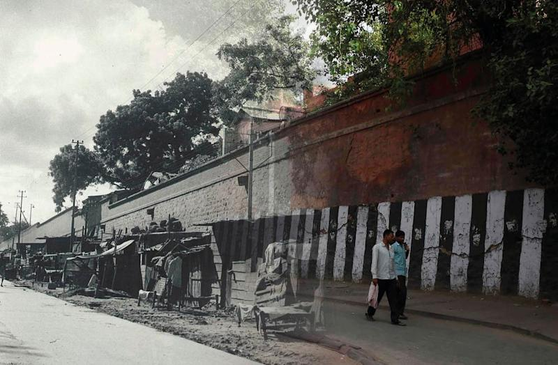 Refugee families on Queen's Road in Delhi in 1950 and a contemporary image of the same location