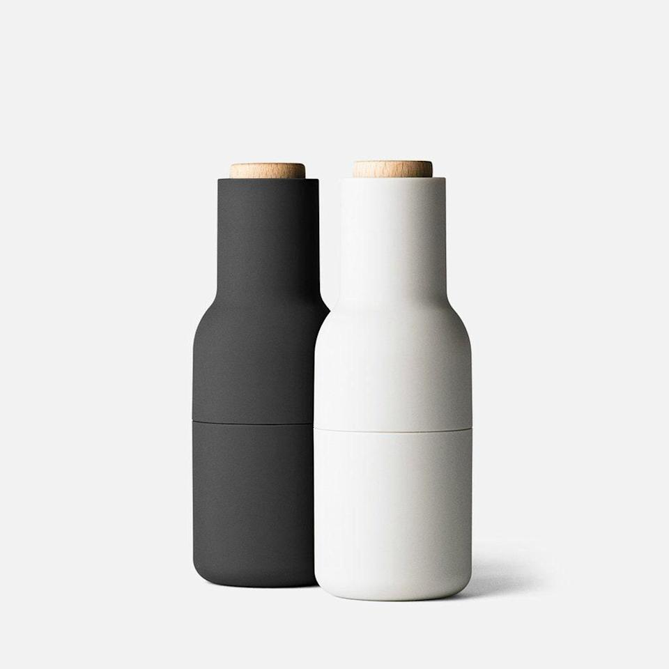 """For those on your list who are serious about their condiments, consider these minimalistic spice grinders. They're hefty without being bulky, and the ceramic mill sits at the top so no spice grounds spill out onto the table. $80, Amazon. <a href=""""https://www.amazon.com/Menu-Small-Bottle-Grinder-Set/dp/B006B7ZWK4/ref=sr_1_5?"""" rel=""""nofollow noopener"""" target=""""_blank"""" data-ylk=""""slk:Get it now!"""" class=""""link rapid-noclick-resp"""">Get it now!</a>"""