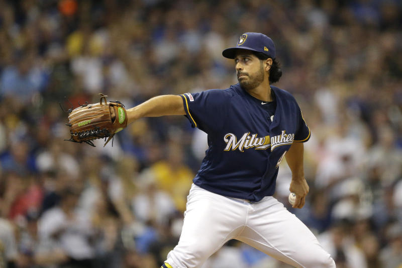 Milwaukee Brewers' Gio Gonzalez pitches during the fourth inning of a baseball game against the Pittsburgh Pirates, Sunday, Sept. 22, 2019, in Milwaukee. (AP Photo/Aaron Gash)
