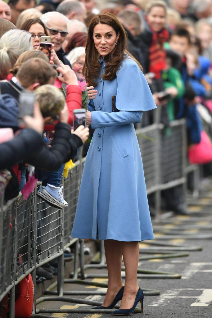 <p>Kate started the second day of her royal tour of Northern Ireland in a pale blue coatdress by Mulberry.</p>