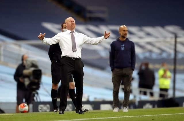 Sean Dyche had a frustrating evening at the Etihad (PA)