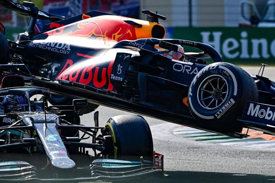 Lewis Hamilton escaped injury following the dramatic crash at the Italian GP  (AFP via Getty Images)