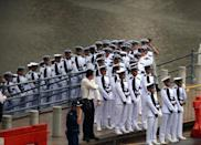 Members of a guard of honour prepare before a funeral procession for Singapore's late former prime minister Lee Kuan Yew in Singapore on March 29, 2015