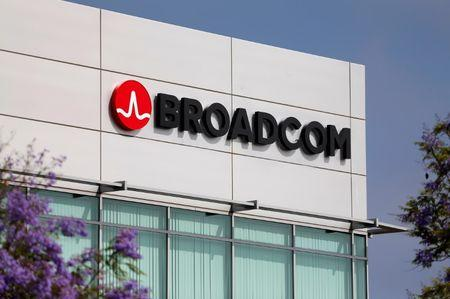 Broadcom Limited company logo is pictured on an office building in Rancho Bernardo, California May 12, 2016. REUTERS/Mike Blake/Files