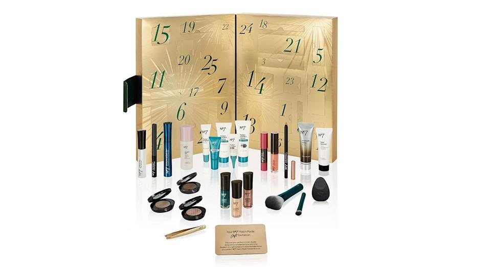 <p>Packed with mini No7 favourites, from an Airbrush Away primer to an Exceptional Definition mascara, this £35 calendar will help you look fabulous for the festive season. </p>