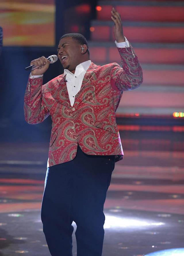 "Curtis Finch, Jr. performs Fantasia Barrino's ""I Believe"" on the Wednesday, March 13 episode of ""American Idol."""