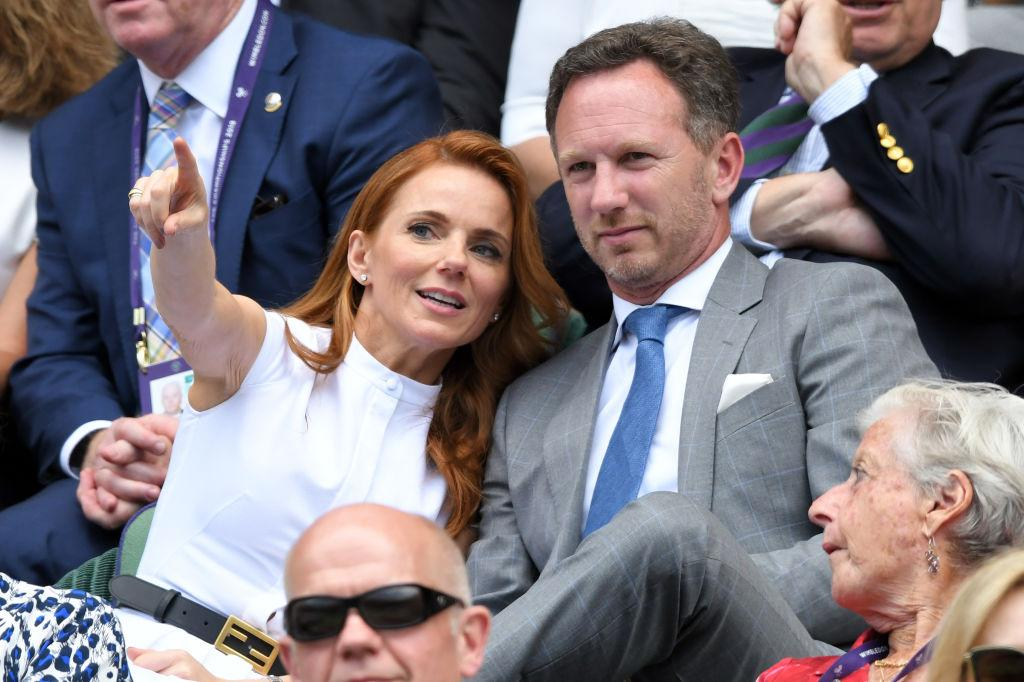 Spice Girls singer Geri Horner is married to Christian Horner, Team Principal of the Red Bull Racing Formula One team. He was formerly a race car driver too. Here they are, pictured at Wimbledon Tennis Championships at All England Lawn Tennis and Croquet Club on July 05, 2019 in London, England. (Photo by Karwai Tang/Getty Images)
