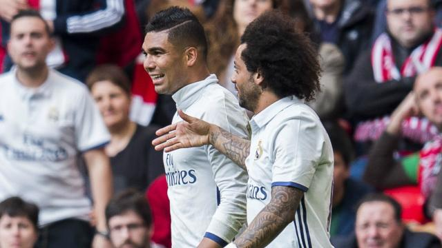 Casemiro sealed Real Madrid's 2-1 win away to Athletic Bilbao and team-mate Marcelo was quick to praise his development.