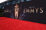 A general view of the red carpet before the 73rd Primetime Emmy Awards on Sunday, Sept. 19, 2021, at L.A. Live in Los Angeles. (AP Photo/Chris Pizzello)