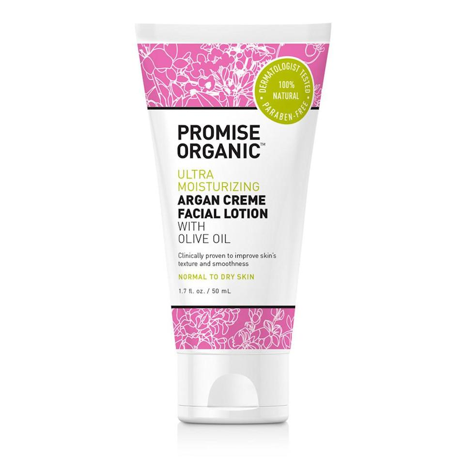 """<p>It doesn't get better than good-for-you products easily accessible at the drugstore. This gentle moisturizer is available exclusively at CVS. <a href=""""http://www.cvs.com/shop/beauty/skin-care/face/promise-ultra-moisturizing-argan-creme-face-lotion-with-olive-oil-skuid-567165"""" rel=""""nofollow noopener"""" target=""""_blank"""" data-ylk=""""slk:Promise Organic Ultra Moisturizing Argan Creme Facial Lotion"""" class=""""link rapid-noclick-resp"""">Promise Organic Ultra Moisturizing Argan Creme Facial Lotion</a> ($15) </p>"""