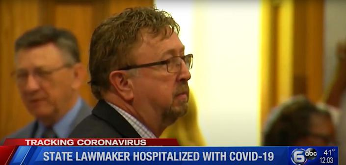 David Byrd was hospitalised with Covid-19 almost a week and a half after he was spotted maskless at an overnight retreat in Nashville with his fellow Republican colleagues (Screengrab/WATE-TV)