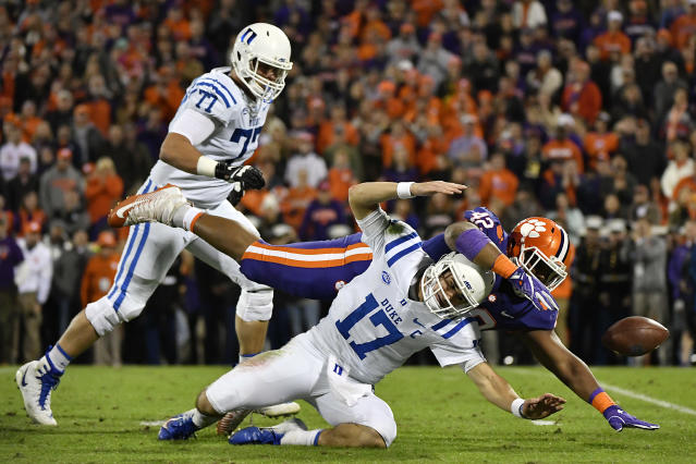 Daniel Jones took his lumps at Duke, particularly against Christian Wilkins and Clemson Tigers in 2018. (Getty Images)